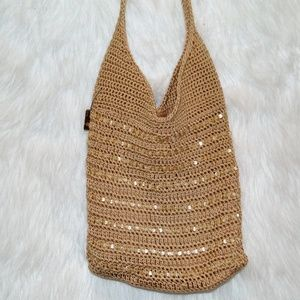 Lina Sequined Crocheted Cross-Body Bag